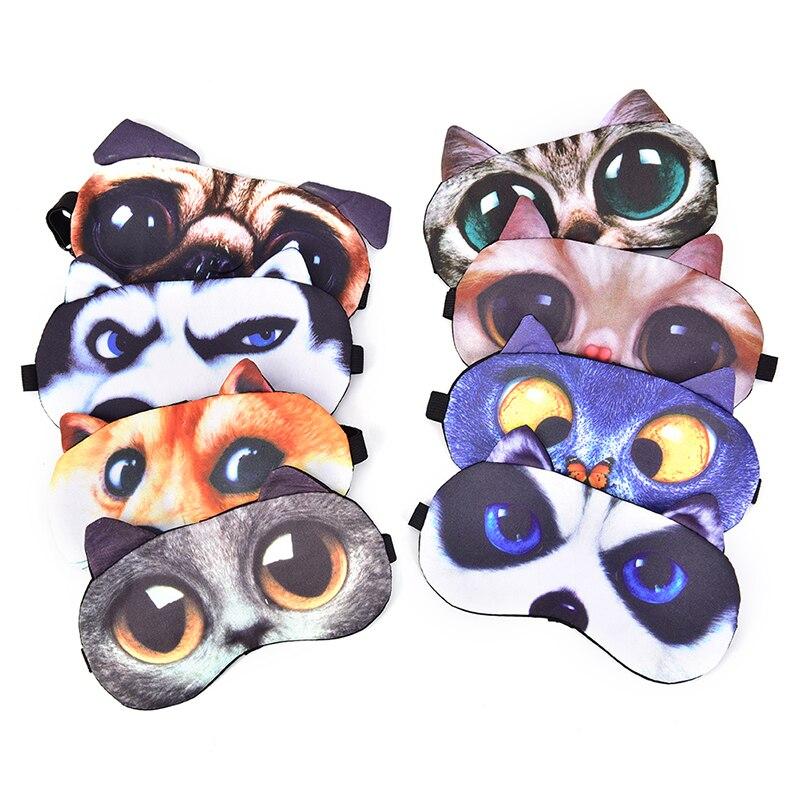 Cute Cat Dog Sleep Mask Eyeshade Cover Eye Mask Natural Sleeping Soft Blindfold Eyepatch Sleep Eyeshade Eye Cover Hot