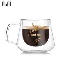 JOUDOO Double Transparent Coffee Mugs With Handle Mug Drinking Insulation Wall Glass Tea Cup Creative Gift Drinkware 35