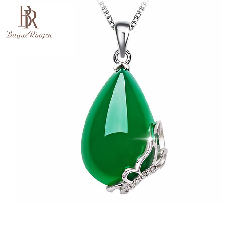 Begua Ringen Vintage 925 Sterling Silver Emerald Gemstone  Pendant Necklace Party Cocktail Jewelry Women Gifts Wholesale