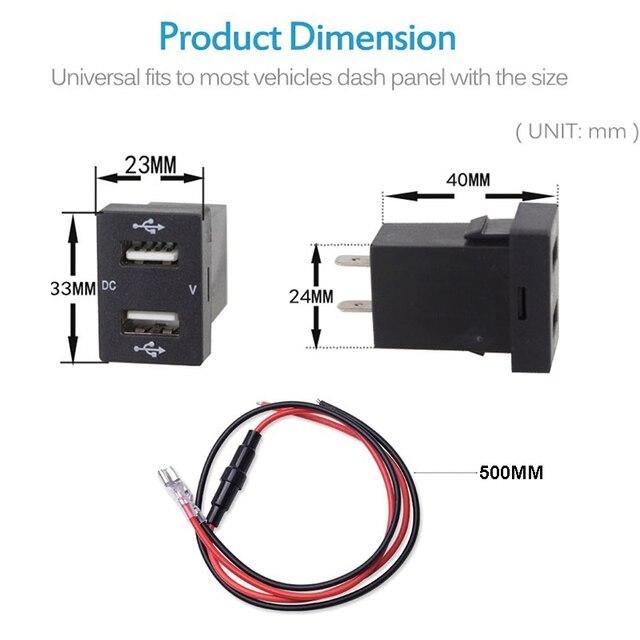 2.1A ładowarka z podwójnym portem USB Adapter do gniazda zasilania z LED cyfrowy woltomierz światło do toyoty Corolla Prado Reiz do smartfona iPad D5