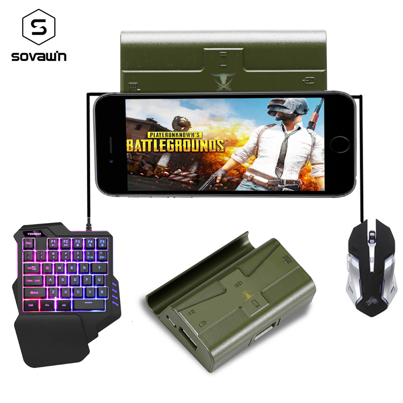 Sovawin G4 PUBG Controller Mobile Controller Bluetooth Gaming Keyboard Mouse Converter  Wired Phone Gamepad Android For IPhone