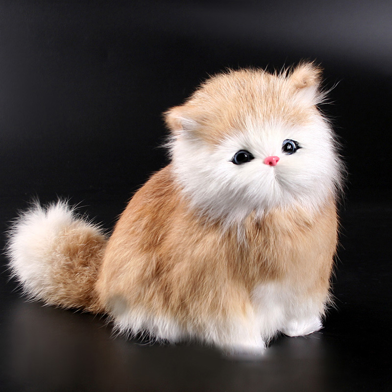 Simulation Plush Cat Crouching Animal Models Handmade Realistic Cat Dolls Children Plush Toys Home Decoration Will Make A Sound