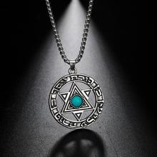 Necklace Star Viking Pendant Jewish-Jewelry Wicca Rhinestone Blue Teamer David-Hebrew