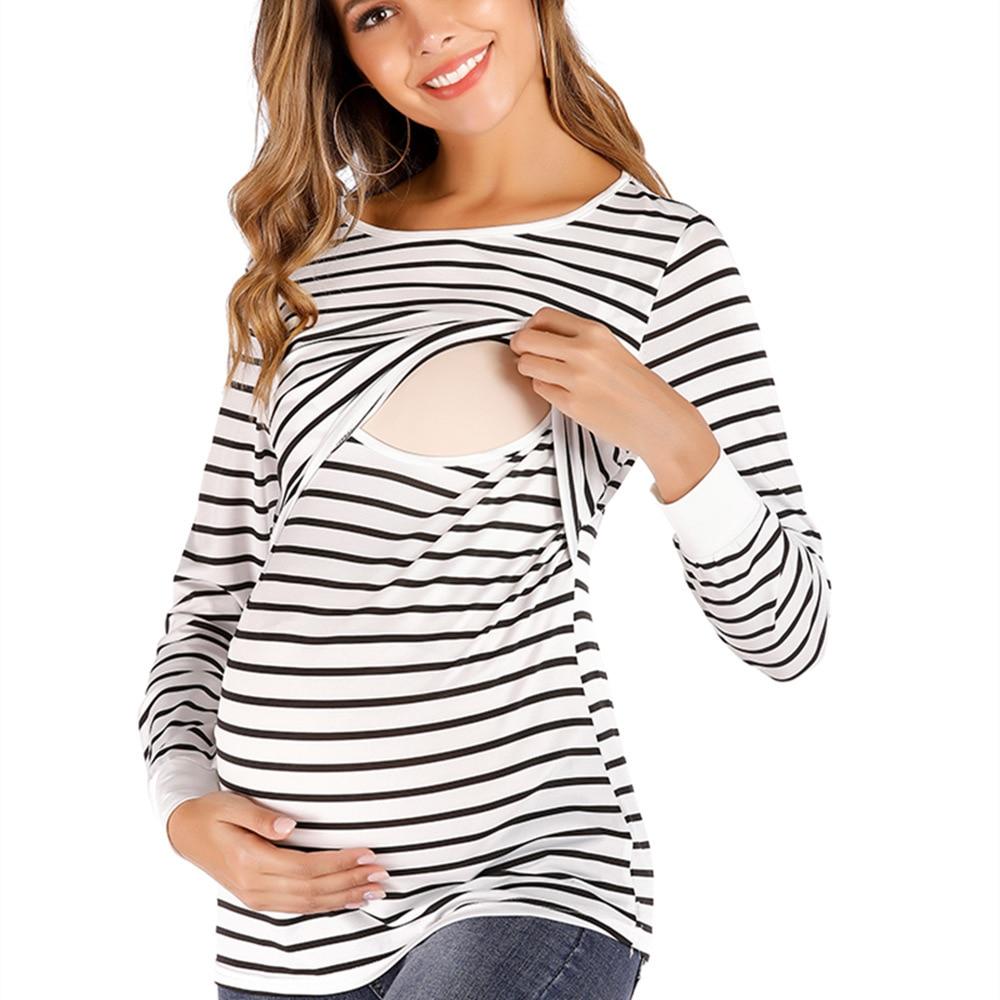 Long sleeve cotton maternity clothing long sleeve maternity clothing comfortable maternity clothing stripe maternity clothing