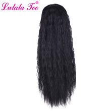 24 inch Long Corn Wavy Drawstring Ponytail Wig Synthetic Fake Clip in Pony Tail Wrap Around Ponytail Hair Extension long center parting corn hot wavy colormix synthetic wig