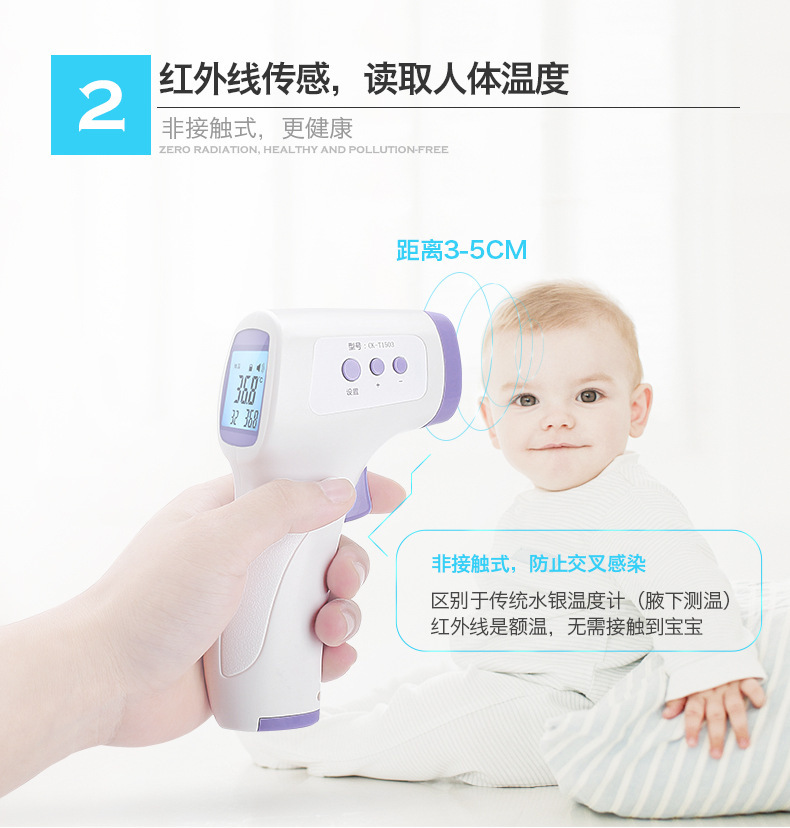 Digital Termomete Infrared Forehead Body Thermometer Gun Non-contact Temperature Measurement Device With LCD Backlight