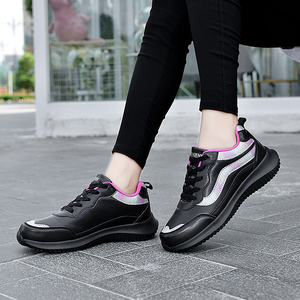 Image 2 - النساء أحذية رياضية أحذية رياضية جلدية الدانتيل متابعة مقاوم للماء حذاء مسطح في الهواء الطلق حذاء للجيم احذية الجري السيدات أحذية رياضية