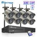 Techage H.265 8CH 1080P HD Беспроводной NVR комплект CCTV система безопасности 2MP IR CUT наружная аудио Wifi камера P2P комплект видеонаблюдения