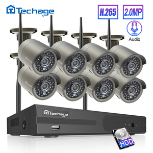 Techage H.265 8CH 1080P Wireless NVR Kit 2MP Outdoor Security Audio Record Wifi IP Camera P2P Video CCTV Surveillance System Set(China)