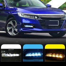 цена на 2PCS LED Daytime Running Light For Honda Accord 2018 2019 2020 Dynamic Turn Yellow Signal Waterproof Car DRL 12V LED Fog Lamp