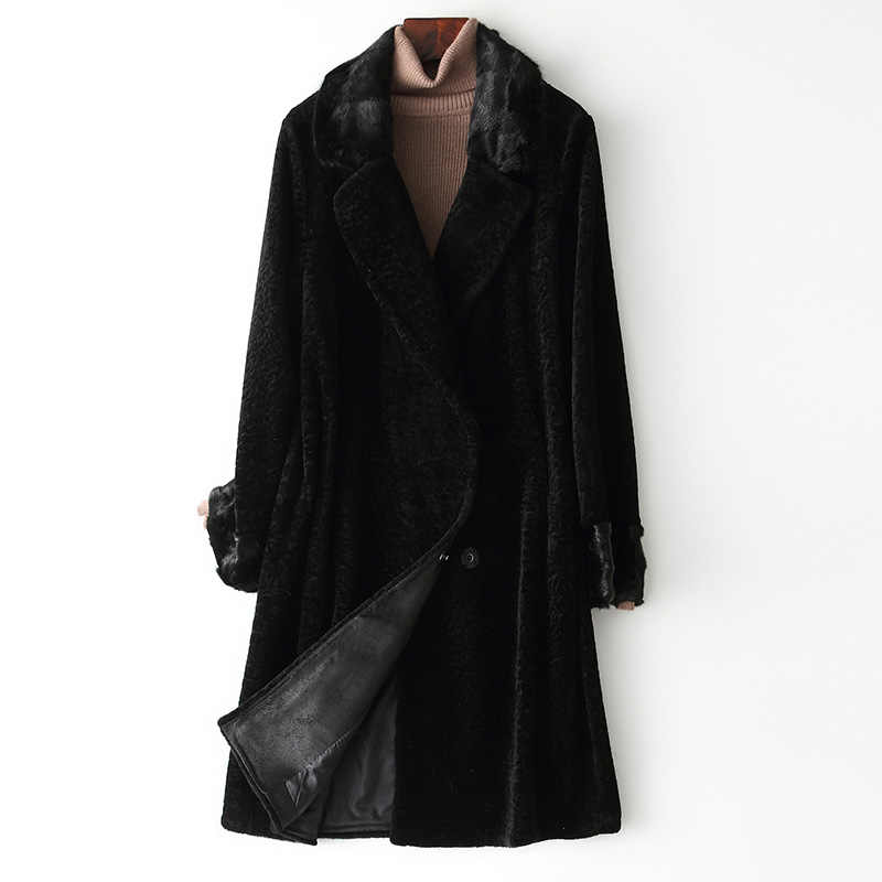 韓国ヴィンテージミンクの毛皮の襟ウールコート女性の秋の冬コート女性服 2020 暖かいトップスファム ZT4210