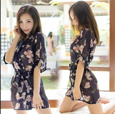 Sexy Japanese Bathrobe Short Chiffon Kimono Woman Printed Uniform Large Size Outer Garment