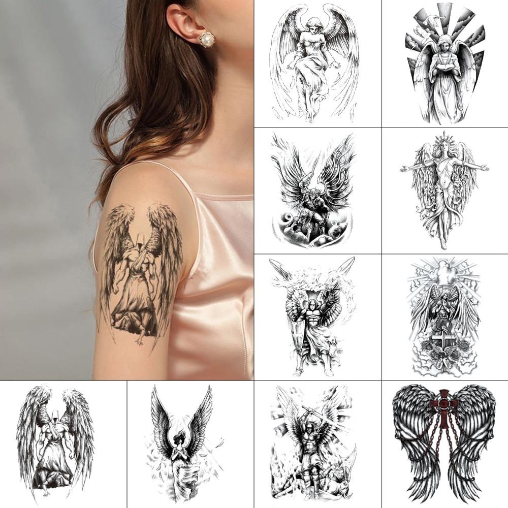 Black Ink Temporary Tattoo Stickers Jesus Waterproof Tattoo Angel Wings Demon Body Art Tattoo Jesus Fake Light For Men Women Temporary Tattoos Aliexpress