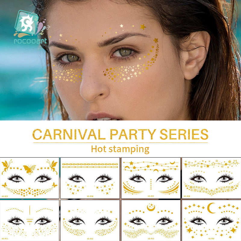 Rocooart Flash Metallic Waterproof Tattoo Gold Silver Women Fashion Henna Face Freckle Temporary Tattoo Carnival Party Sticker