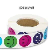 500 шт/рулон канцелярские наклейки круглые разноцветный смайлик награда для детей, детский день подарок украшения