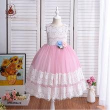 Yoliyolei/Детское платье с цветочным узором для девочек; Кружевное