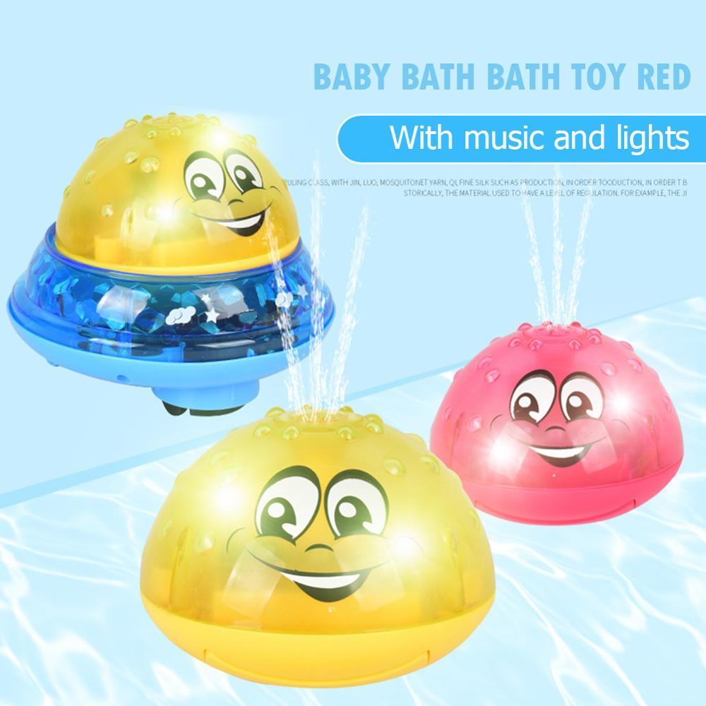 Funny Infants Bath Toys Electric Induction Water Spray Toys For Children Light Music Rotatable Kids Pool Play Water Toys