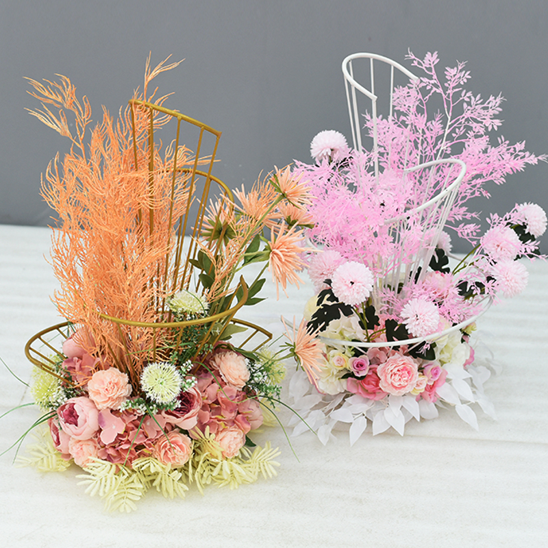 Wedding Props Spiral Wrought Iron Fan-shaped Flower Stand Hotel Wedding Background Table Flower Decoration Road Lead Decoration