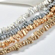 Natural matte kc banhado a ouro pedra hematita cascalho irregular solta espaçador grânulos para fazer jóias diy frisado pulseira 15''