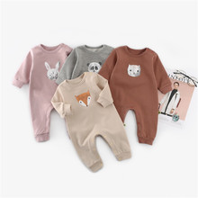 Baby Unisex Clothes Autumn Cartoon Print Newborn Girls Rompers Long Sleeve Infant Kids Boys Jumpsuits One Piece Outfits 0-2Years baby cartoon giraffe elephant print rompers cute infant newborn boys girls long sleeve clothes soft jumpsuits toddler costumes