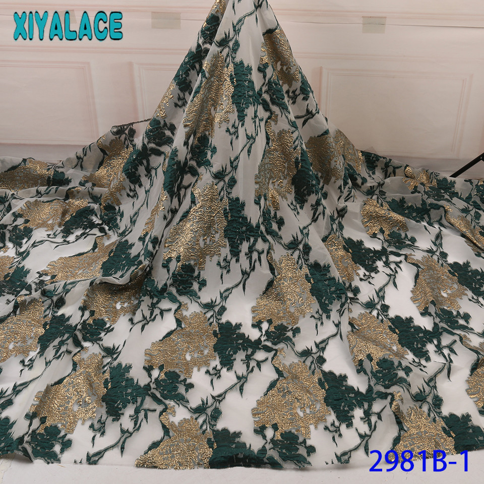 Nigerian Net Lace Fabrics Embroidered Brocade Fabric Lace High Quality African French Tulle Lace  For Women KS2981B-1