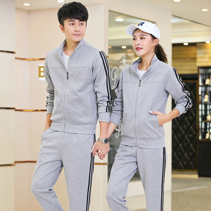 2019 New Style Spring And Autumn Sports Set Couple Clothes MEN'S Sweater Women's Running Casual Students Business Attire School