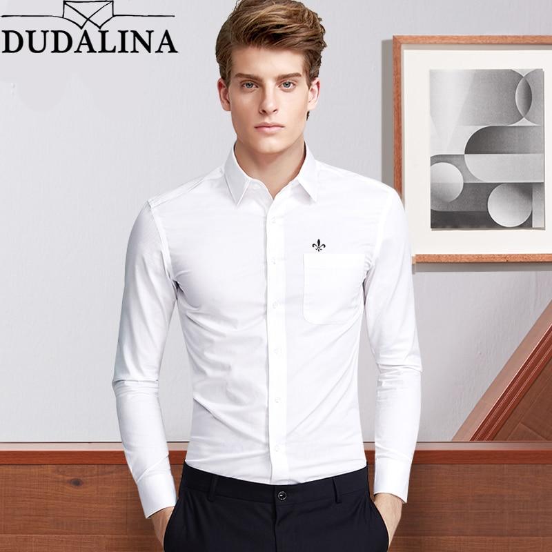 Dudalina Moda Blusa Camisa Social Masculina Manga Longa Roupa Slim Fit Shirt Men Floral Branca Masculino Plus Size Para Hombre