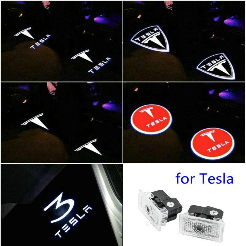 2X For Tesla Model 3 Model S X Y Accessory Car Door Light For Tesla Led Car Door Projector Logo Laser Ghost Shadow Welcome Light