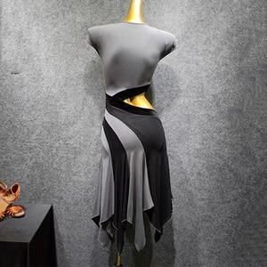 Image 5 - Latin Dance Dress Gray Short Sleeve Rumba Tango Salsa Cha Dancing Dresses Practice Clothes Women Adults Performance Wear DN3841