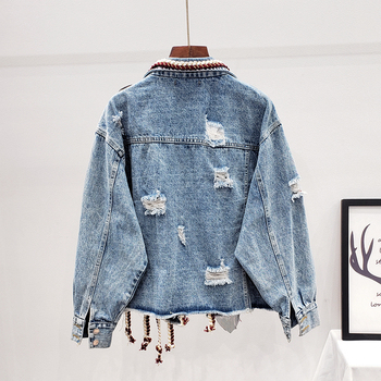2020 Spring Autumn Streetwear Print Hole Diamonds Denim Jacket Women Mesh Lace Up Short Casual Jean Coat Female Outwear Tops 5