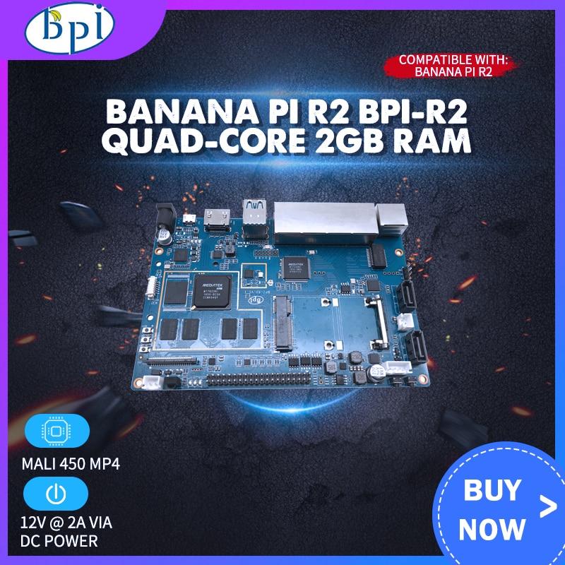 Banana Pi R2 BPI-R2 Quad-Core 2GB RAM With SATA WiFi Bluetooth 8GB EMMC Demo Single Board+Acrylic Case+12V 2A DC Power