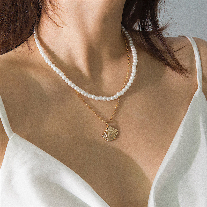 Ailodo Boho Shell Pendant Necklace For Women 2019 Fashion Pearl Layered Chain Statement Jewelry Gift LD254