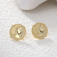 Fengxiaoling New Arrivals 100% Original 925 Sterling Silver Golden Portrait Round Stud Earrings For Women Jewelry