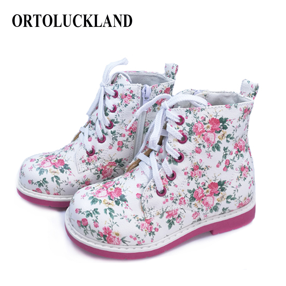 Kids Girls PU Leather Boots Lovely Orthopedic Casual Shoes For Girls Spring Autumn Lace-up Footwear Children Flower Design Boots
