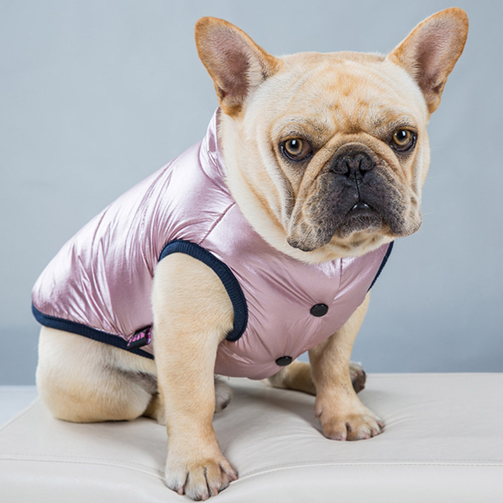 Streetwear Dog Jacket Cotton Blend French Bulldog Travel Pet Clothes Solid Snap Daily Cosy Warm Windproof Slim Fit Winter Coat