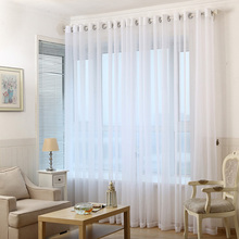 White Solid Tulle Curtains Window Screening Curtain for Bedroom kitchen Sheer Voile Curtain Blinds Drapes Window Treatments Door pastoral daisy door screen voile window sheer curtain blinds drape bedroom curtains backdrop christmas decorations for home wall