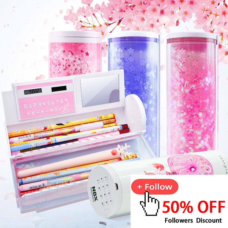Cute Quicksand Password Pencil Case Kawaii Multifunctional Pencil Boxs With Calculator For Kid Office School Supplies Stationery