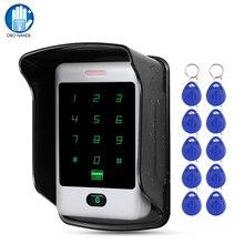 RFID העצמאי מגע מתכת בקרת גישה עם 10 מחזיקי מפתחות 125KHz מזהה עמיד למים כיסוי עבור דלת בקרת גישה מערכת 8000 משתמש