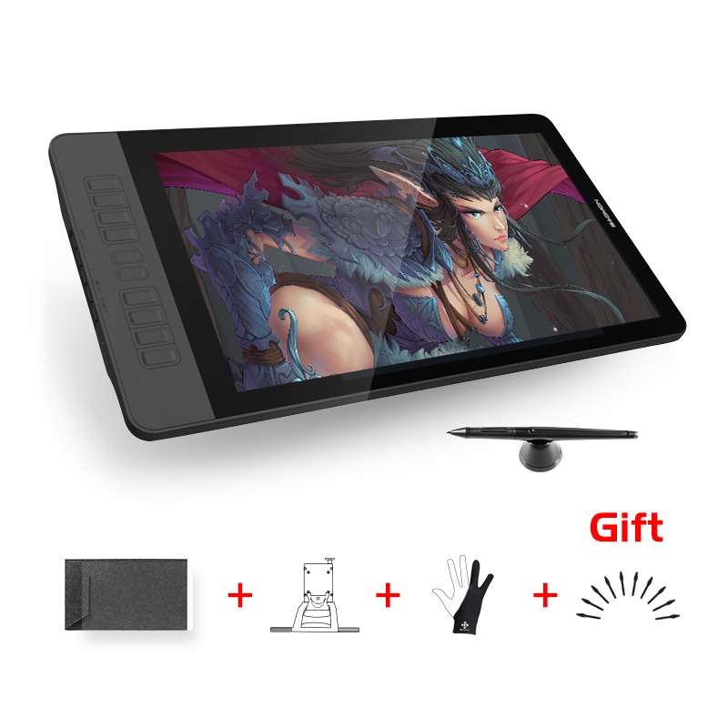 GAOMON PD1560 15.6 polegada 10 Teclas de Arte Profissional Mesa Digitalizadora com Caneta Desenho Tablet Monitor de Tela para Win & Mac com Presentes