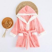 CYSINCOS/зимняя детская флисовая Пижама теплая фланелевая одежда для сна банный халат с капюшоном для мальчиков и девочек, полотенце, ночная рубашка, одежда для сна домашняя одежда