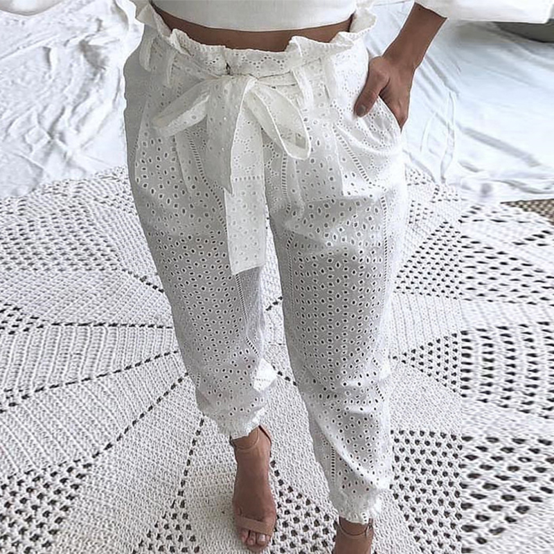 OUSHANG High Waist White Trouser For Women Elegant Ruched Hollow Out Paperbag Waist Broderie Lace Casual Pants 2020 Fashion
