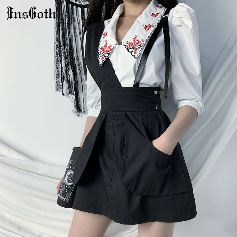 InsGoth Streetwear Punk Cargo Skirts Women Gothic Black Mini Patchwork Skirts Summer Casual Strap Sexy Short A-line Skirts Girls
