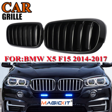 MagicKit 1pair ABS Kidney Bumper Gloss Black Grille for BMW X5 F15 X6 F16 X5M F85 X6 Front Racing Grill 2014 2015 2016 2017 lsrtw2017 leather car floor mat for bmw x5 x6 f15 f16 e90 e91 e53 g5g6 x5m f85 rug carpet interior styling 1999 2020
