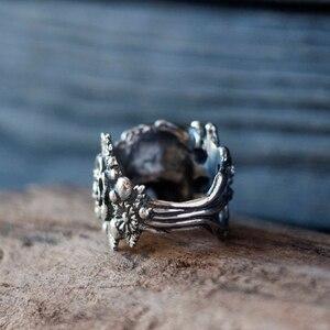Image 4 - EYHIMD gotik meksika çiçek şeker kafatası yüzükler kadınlar paslanmaz çelik Punk çiçek yüzük takı