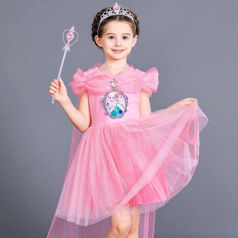 Jargazol Icing Anna Elsa Prinses Kostuum Verjaardag Herfst Lange Mouw Jurken Voor Meisjes Vestidos Meisjes Kleding Zomer