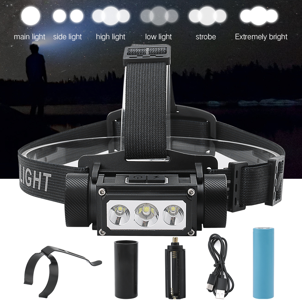 BORUiT Super Bright 3 LED L2 Headlamp Flashlight Type-C USB Rechargeable Lantern Waterproof Portable Camping Head Torch Light