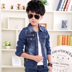 Image 2 - Детская джинсовая куртка, Тренч для мальчиков, джинсовая куртка для девочек, детская одежда, пальто для подростков, повседневная верхняя одежда, ветровка на весну и осень