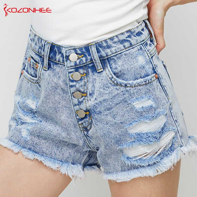 Loose Ripped Inelastic Women Denim Shorts With High Waist Tassel  Female Summer Shorts For Women's Jeans  #16