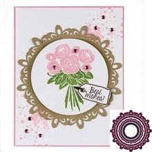 Round lace background frame metal cutting die DIY scrapbook stamp album decorative embossed DIY paper card diy embossed carbon steel cutting die