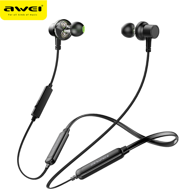 AWEI G20BLS Wireless Bluetooth Earphone Headphones With Microphone Dual Driver Noise Cancel Headset 3D Stereo Magnetic Earphones